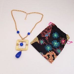Trina Turk gold and blue bead necklace